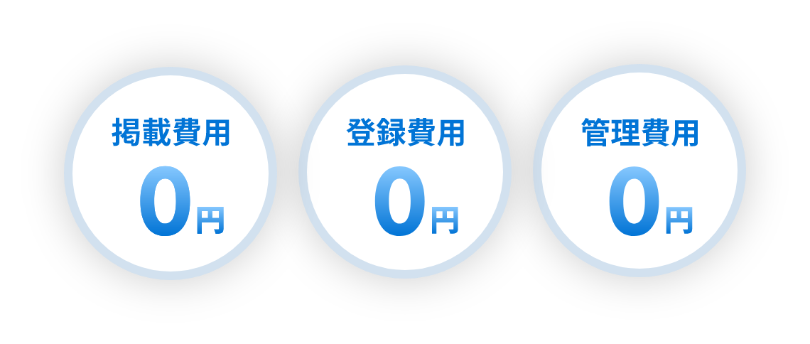 掲載、登録、管理費用0円